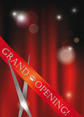 Grand opening card with scissors, red ribbon and red curtain — Stock Vector