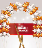 Grand opening card with scissors, star shaped air balloons and red textile ribbon — Stock Vector