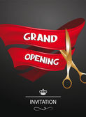 Grand opening invitation card with red ribbon and gold scissors — Stock Vector