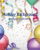 Holiday background with colorful confetti, air balloons, ribbons — Stock Vector