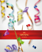 Grand opening invitation card with colorful blurred ribbons and confetti — Stock Vector