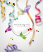 Colorful confetti and ribbons. Holiday background — Stock Vector