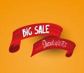 Red big sale  ribbon. Vector illustration — Stock Vector