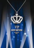 VIP invitation card with crown, spotlights and blue curtains — Stock Vector