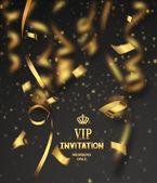 Vip invitation card with gold confetti — Stock Vector