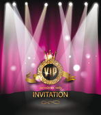 VIP invitation card with scene on the background and spotlights — Stock Vector