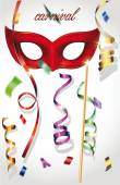 Carnival background with mask, confetti and ribbons — Stock Vector