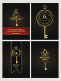 Set of gold boutique hotel cards — Stock Vector