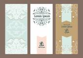 Set of vintage ornate cards — Stock Vector