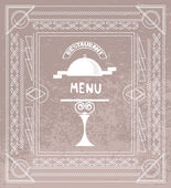 Vintage restaurant menu with line art design elements — Stock Vector