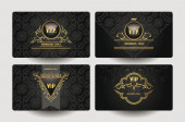 Set of vintage ornate VIP gold cards — Stock Vector