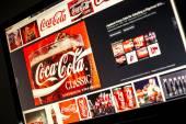 BELGRADE - JANUAR 29, 2014: Google image search for Coca cola logo photos on PC screen — Stock Photo