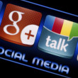 BELGRADE - SEPTEMBER 09, 2014 Social media icons Google Talk and Google plus on smart phone screen close up — Stock Photo #53477519