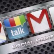 BELGRADE - AUGUST 30, 2014 Social media icons Google talk, google mail and other on smart phone screen close up — Stock Photo #53477739