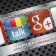 BELGRADE - AUGUST 30, 2014 Social media icons Google talk, google plus and other on smart phone screen close up — Stock Photo #53477815