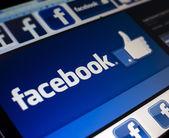 BELGRADE - FEBRUARY 08, 2014: Logo of popular social media website Facebook on PC monitor screen — Stock Photo