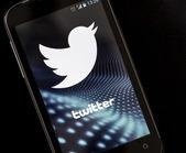 BELGRADE - APRIL 26, 2014 Logo of popular social media website Twitter on smart phone screen — Stock Photo