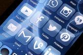 BELGRADE - JUNE 17, 2014 Popular social media icons on smart phone screen — Stock Photo