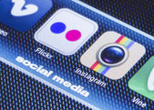 BELGRADE - JULY 11, 2014 Popular social media icons flickr instagram and other on smart phone screen close up — Stock Photo