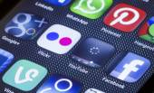 BELGRADE - JULY 05, 2014 Popular social media icons flickr youtube and other on smart phone screen close up — Stock Photo