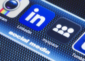 BELGRADE - JULY 11, 2014 Popular social media icons myspace linkedin and other on smart phone screen close up — Stock Photo