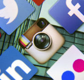 BELGRADE - MARCH 11, 2014 Social media icon Instagram on smart phone screen — Stock Photo