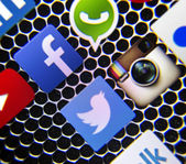 BELGRADE - MARCH 03, 2014: Social media icons Facebook and WhatsApp on smart phone screen — Stock Photo