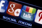 BELGRADE - SEPTEMBER 09, 2014 Social media icons Google Talk and Google plus on smart phone screen close up — Stock Photo