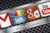 BELGRADE - AUGUST 30, 2014 Social media icons Google talk, google plus and other on smart phone screen close up — Stock Photo
