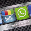 BELGRADE - AUGUST 30, 2014 Social media icons Twitter, Whatsapp, Facebook, and Google talk on smart phone screen close up — Stock Photo #53480737