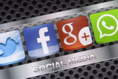 BELGRADE - AUGUST 30, 2014 Social media icons Twitter, Whatsapp, Facebook, and Google plus on smart phone screen close up — Stock Photo