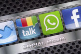 BELGRADE - AUGUST 30, 2014 Social media icons Twitter, Whatsapp, Facebook, and Google talk on smart phone screen close up — Stock Photo