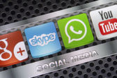 BELGRADE - AUGUST 30, 2014 Social media icons Whatsapp, Skype and other on smart phone screen close up — Stock Photo