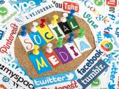 BELGRADE - JUNE 13, 2014 Social media words made from letters pinned to a cork bulletin board and social media website logos printed on paper — Foto Stock