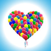 Balloons in heart shape colorful vector — Stock Vector