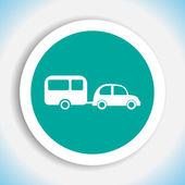 Car and trailer vector icon — Stock Vector