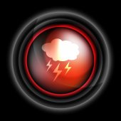 Cloud with lightning weather vector icon — Stock Vector