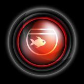 Fish and aquarium icon vector — Stock Vector