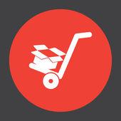 Manual cart with cardboard box vector icon — Stock Vector