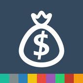 Bag with money vector icon — Stock Vector