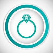 Diamond ring vector icon — Stock Vector