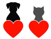 Dog and cat with heart — Stock Vector