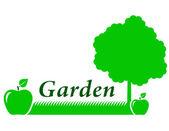 Fond jardin avec pomme verte — Vecteur