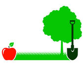 Garden background with tree, shovel and grass — Stock Vector