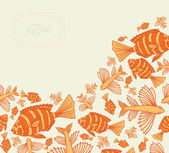 Abstract template for greeting card with fishes.  — Stock Vector
