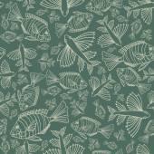 Textura sem costura com peixes. — Vetor de Stock