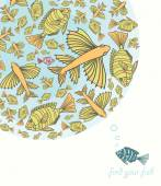 Abstract template for greeting card with fishes.  — Stockvektor