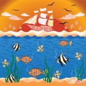 Ilustração vetorial com peixes e navio. — Vetor de Stock