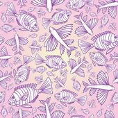 Nahtlose textur mit fischen. — Stockvektor