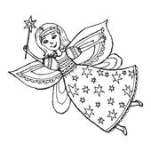 Hand drawn, cartoon, sketch illustration of fairy with a magic w — Stock Vector
